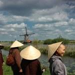 Windmills and Vietnamese on vacation — Stock Photo #56382721