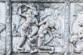 Masterpiece of traditional Thai style stucco art old about Ramay — Stock Photo