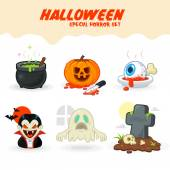 Halloween Horror Vector Set icons Isolated on White Background — Stock Vector