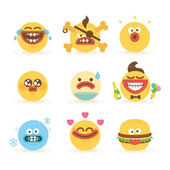 Cartoon Freaky Faces Smiley Emoticons Set 3 — Stock Vector
