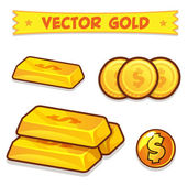 Vector Gold Ingots, Coins icons isolated on white background — Stock Vector