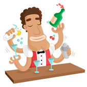 Cocktail Party Juggling Barman mix various alcohol drinks ingredients isolated vector cartoon comic illustration — Vetorial Stock