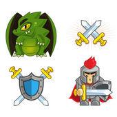 Knight & Dragon vector icon set — Stock Vector