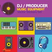 DJ Producer music maker equipment Vector icons set — Stock Vector