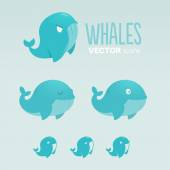 Blue Whales icons logo symbols illustration Isolated Vector template — Stock Vector