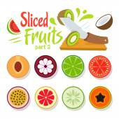 Comic Flat & Minimal Vector Sliced Fruits icons with logo design template — Stock Vector