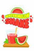 Watermelon Shake Vector Poster Illustration & Logo design Template isolated on white in Flat Cartoon Comic style — Stock Vector
