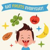 Happy Kid loves to eat Yummy fruits Vintage Vector illustration card — Stok Vektör