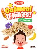 Breakfast Oatmeal whole grain wheat Flakes with fruits vector box design template in cartoon comic style with happy kid boy — Vector de stock