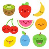 Funny Flat Cartoon Happy Yummy Fruits icons clip art vector illustration on white — Stock Vector