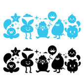 Silhouettes of cute stylized monsters Vinyl Vector Illustration icons Set Isolated on White Background — Stock Vector