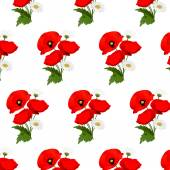 Seamless pattern with chamomile and poppies flowers — 图库矢量图片