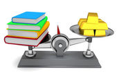 Scales books and gold — Stock Photo