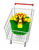 Gift box on cart — Stock Photo