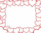 The original red and white frame of hearts valentine's day. Illustration. 3D — Stock Photo