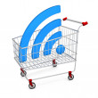 Abstract image symbol wi-fi in the shopping cart. Illustration. — Stock Photo #59142631