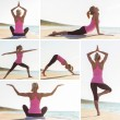 Collage of different yoga poses by young woman on the beach — Stock Photo #56060423