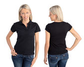 Woman wearing black polo shirt, front and back views — Stock Photo