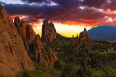 Sunset Image of the Garden of the Gods. — Stock Photo