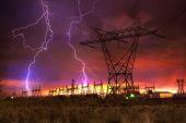 Power Distribution Station with Lightning Strike. — Stock Photo