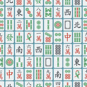 Seamless pattern with mahjong tiles — Stock Vector