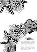 Zentangle monochrome card template — Stock Vector