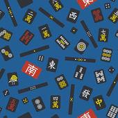 Seamless pattern with riichi mahjong elements — Stock Vector