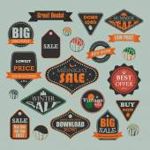 Vintage sale and promotional advertising labels — Stockvektor