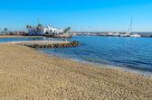 Marbella beach and port — Stock Photo
