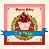 Cupcakes Vector Label — Stock Vector