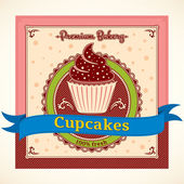 Cupcakes Vector Label — ストックベクタ