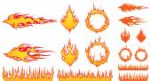 Set of Fire Elements — Stock Vector