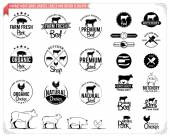 Vintage meat logos, badges, labels and design elements — Stock Vector