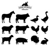 Vector Farm Animals Silhouettes Isolated on White — Vector de stock