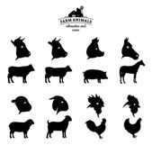 Vector Farm Animals Silhouettes and Icons Isolated on White — Vector de stock