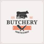 Butcher Shop Logo, Meat Label Template with Farm Animals Silhouettes and Knives — Stock Vector