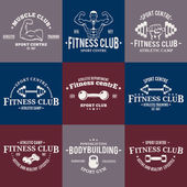 Sport and Fitness Logo Templates, Gym Logotypes, Athletic Labels and Badges — Stock Vector