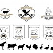 Butchery Logos, Labels, Farm Animals and Design Elements — Stock Vector #73980121