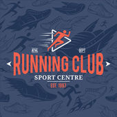 Running Club Logo Template Over Running Shoes Seamless Pattern — Stock Vector