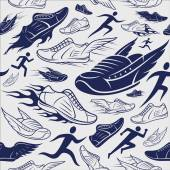 Sport Shoes, Running Man Background, Seamles Pattern, Sport Icons — Stock Vector