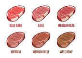 Degrees of Steak Doneness. Blue, Rare, Medium, Well, Well Done. Steak Icons Set — Stock Vector
