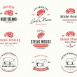 Grill Steak Logos, Labels, and Design Elements. Steaks for BBQ and Grill Steakhouse Labels — Stock Vector #74794171
