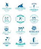 Set of Vector Milk Logos, Labels and Design Elements — Stock Vector