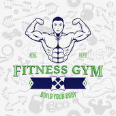 Fitness Gym Logo Template Over Fitness Icons Seamless Pattern — Stock Vector
