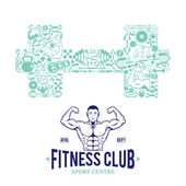 Fitness Gym Logo Template, Fitness Icons Pattern — Stock Vector