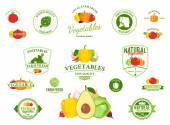 Loghi di verdure, etichette, icone di verdure ed elementi di Design — Vettoriale Stock