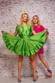 Two fashion girls in bright dresses — ストック写真