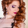 Beauty model with a bright evening make-up.Jewellery.l uxurious glamorous redhead girl with curly. — Stock Photo #65095653
