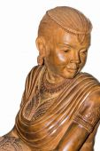 Wood carving statue female beauty — Foto Stock