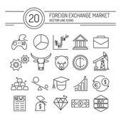Forex Line Icons — Stock Vector